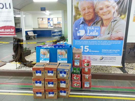 Os 598 litros de leite são em prol da ação social que visa ajudar o Lar dos Idosos São Vicente de Paulo