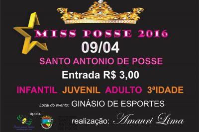 Miss Posse acontece no sábado, dia 9