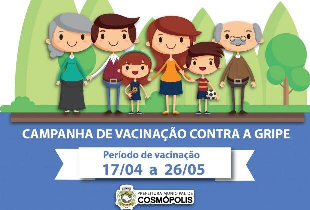 Campanha de vacinação contra a gripe ocorre de 17 de abril a 26 de maio