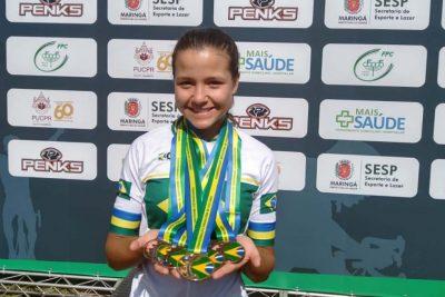 Júlia Braga conquistou cinco medalhas no ciclismo