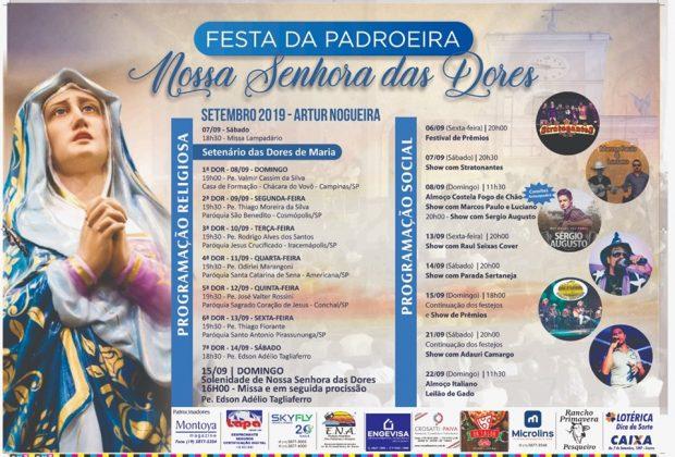 Festa da Padroeira de Artur Nogueira começa nesse final de semana