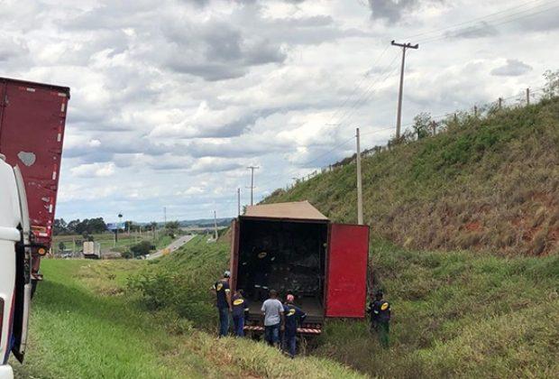 Motorista perde controle de caminhão e bate em acostamento
