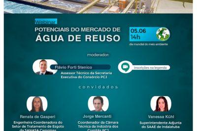 """Webinar """"Potenciais do Mercado de Água de Reúso"""" debaterá necessidade de investimentos para ampliar disponibilidade hídrica"""