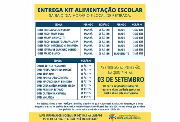 Kit Alimentação Escolar será distribuído nesta quinta-feira, dia 3