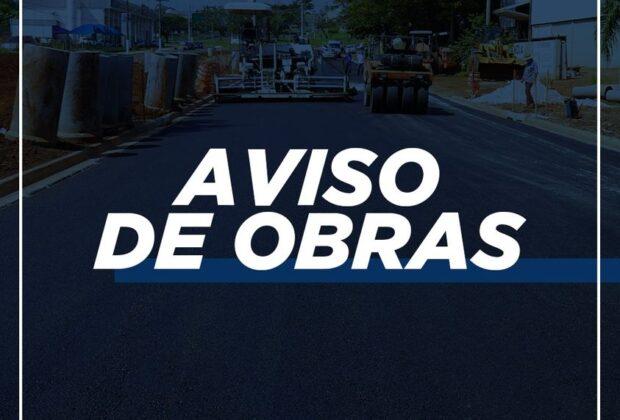 Av. Brasil estará interditada até às 18 hs para execução de obras