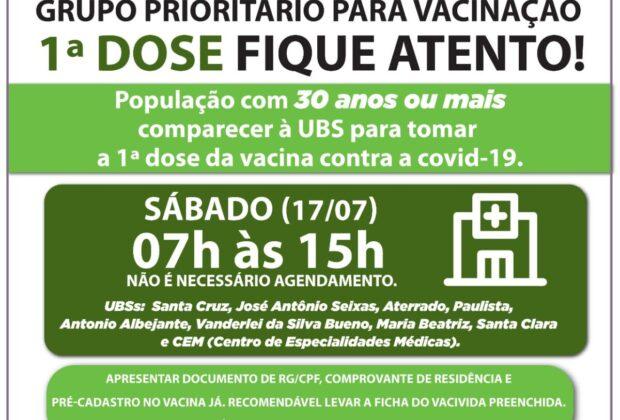 Mega Mutirão de Vacinação contra a Covid-19, neste sábado em Mogi Mirim
